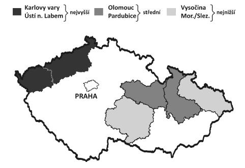 Incidence ca cervixu v letech 1991–2008 v krajích ČR