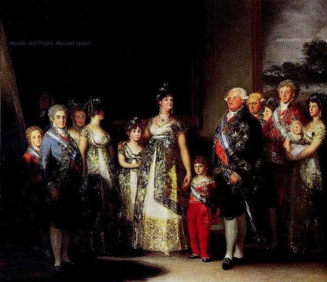 Španielsky kráĺ Karol IV. s rodinou (1801) [Museo del Prado, Madrid, olejomaĺba, plátno, 336 x 280 cm].