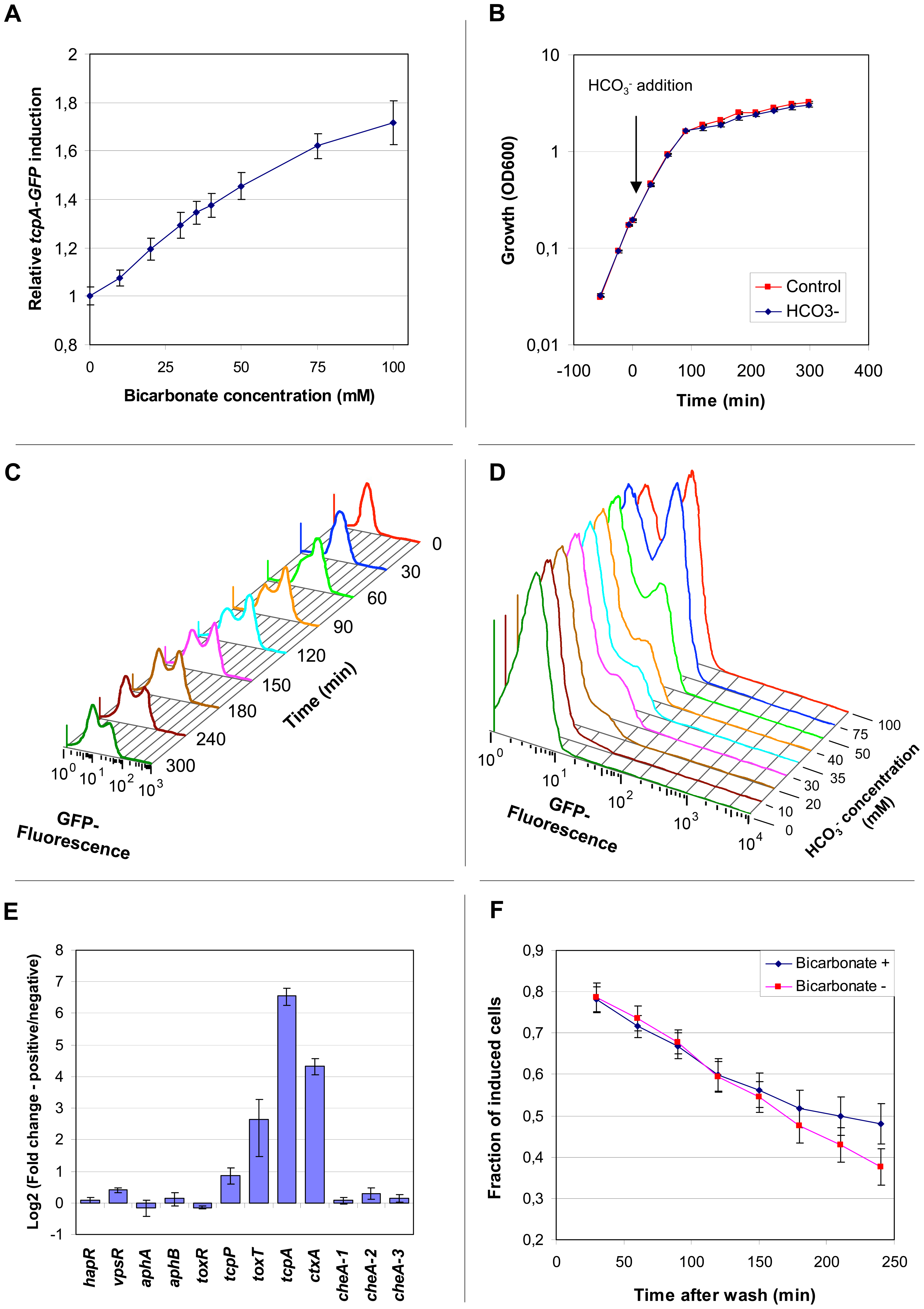 The abundance of <i>tcpA</i>, <i>ctxA</i> and <i>toxT</i> transcripts within individual bacteria bifurcates into two populations after induction with bicarbonate and progression into stationary phase.