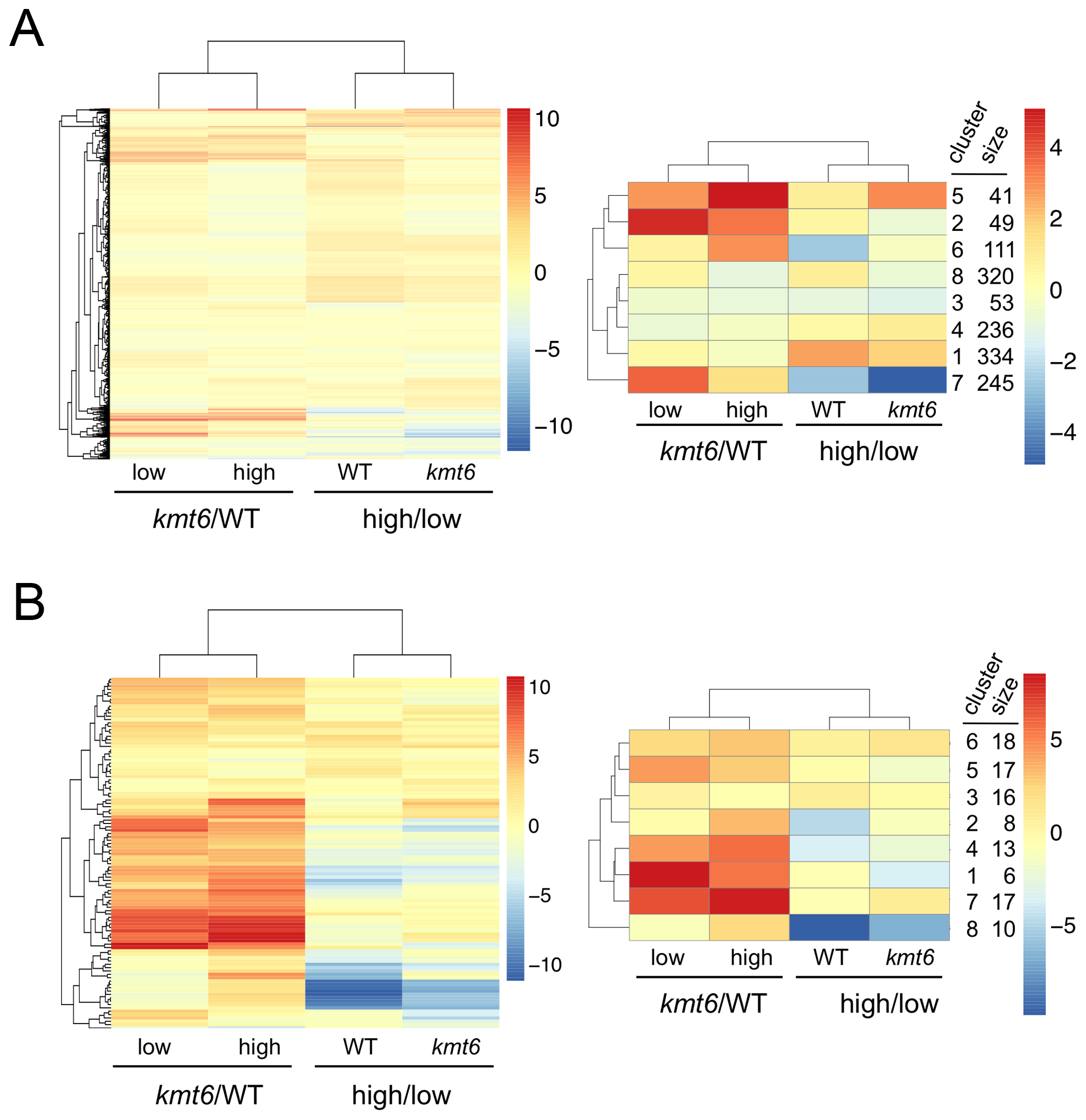 Heatmaps for individual genes in primary (A) and secondary (B) metabolism (left panels) and clusters of genes around eight centers (right panels).