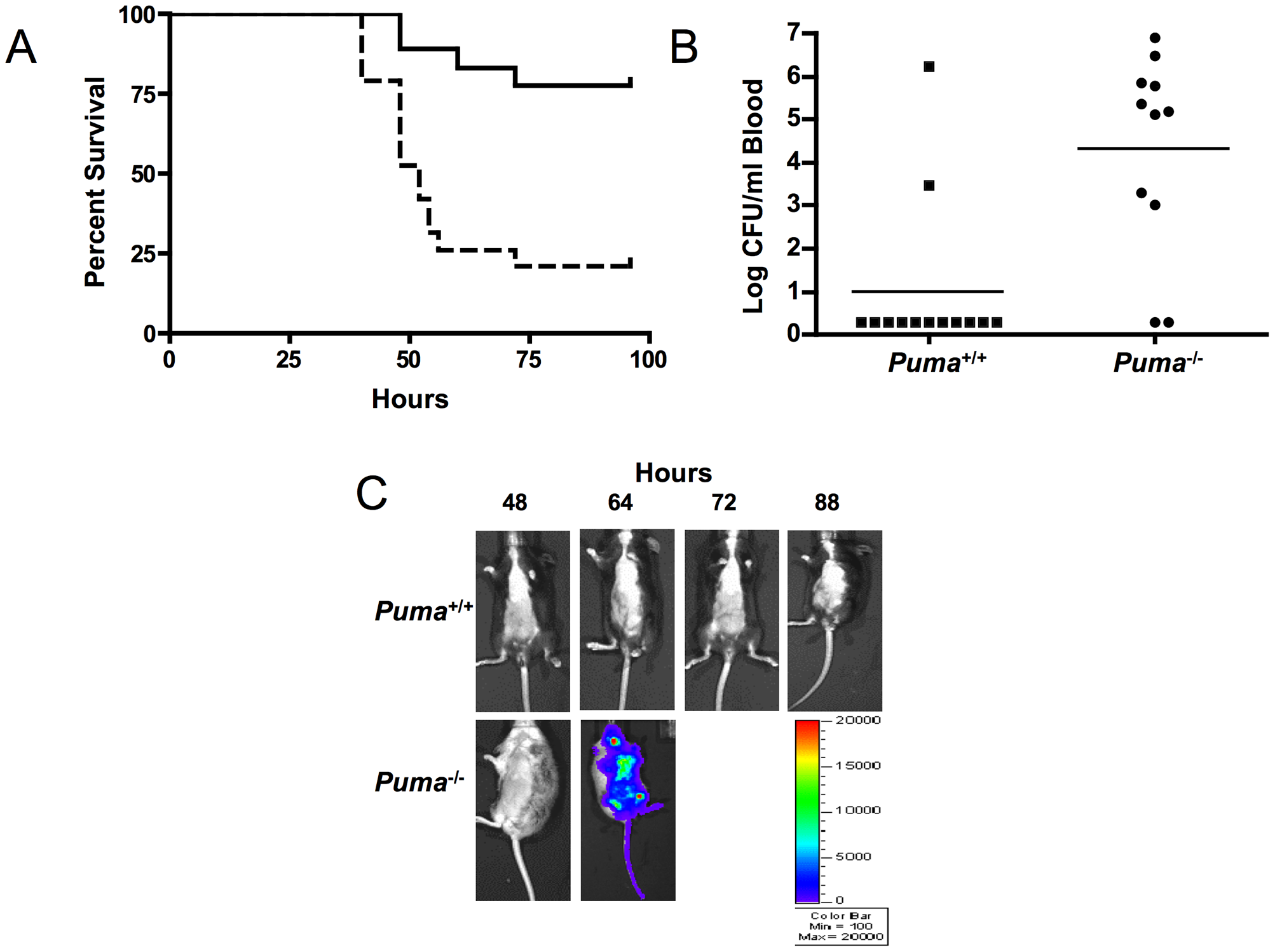 Puma-deficient mice are sensitive to pneumococcal lung infections.