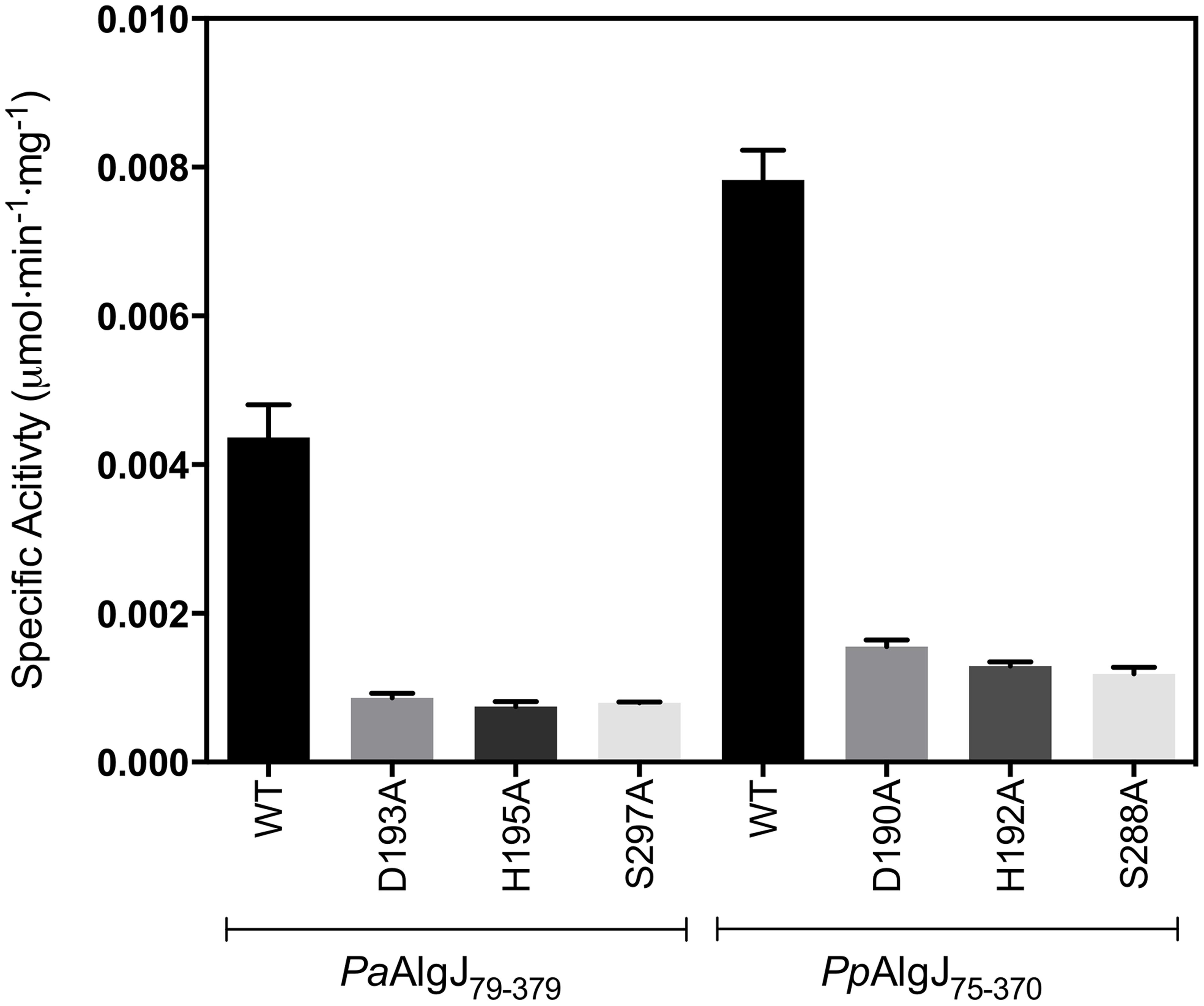 Specific activities of wild-type and catalytic triad mutants of <i>Pp</i>AlgJ<sub>75–370</sub> and <i>Pa</i>AlgJ<sub>79–379</sub>.