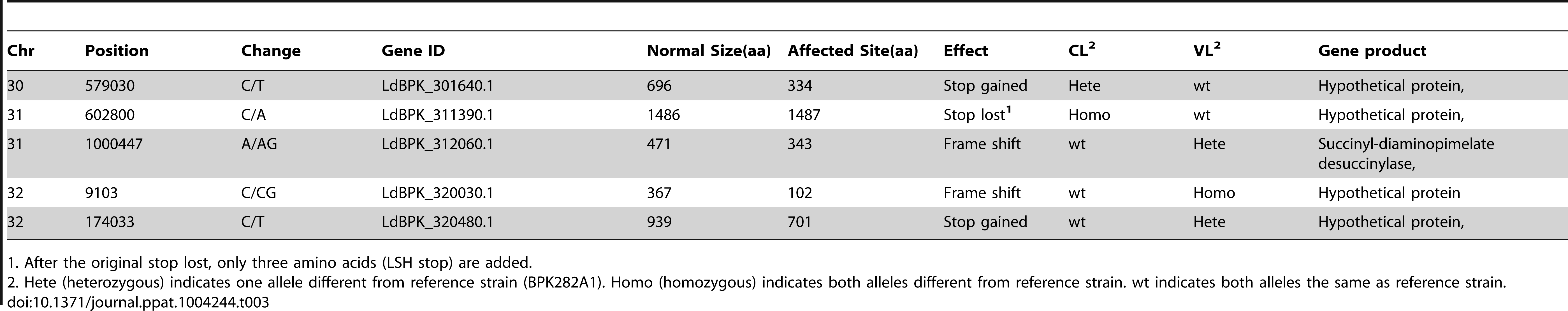 Genes unequally affected in the CL and VL isolates by frame shift or stop site change.