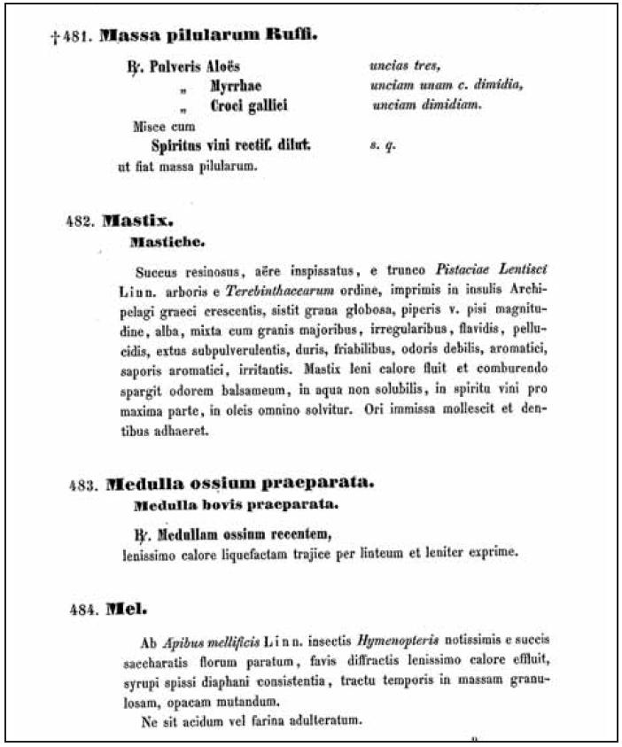 Ukázka textu pátého vydání rakouského lékopisu (Rufus byl v Římě lékařem gladiátorů – okolo roku 100 n.l.)