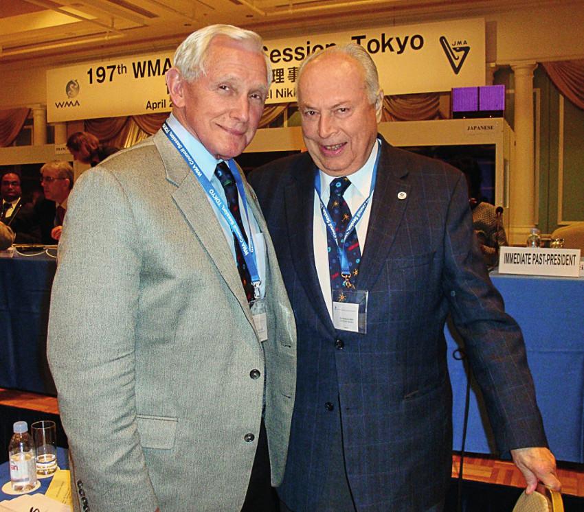Prof Yank Coble, bývalý prezident WMA a AMA, a prof. Jaroslav Blahoš, předseda ČLS JEP a rovněž bývalý prezident WMA