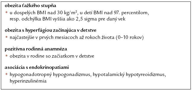 Kritériá zaradenia do DNA diagnostiky.