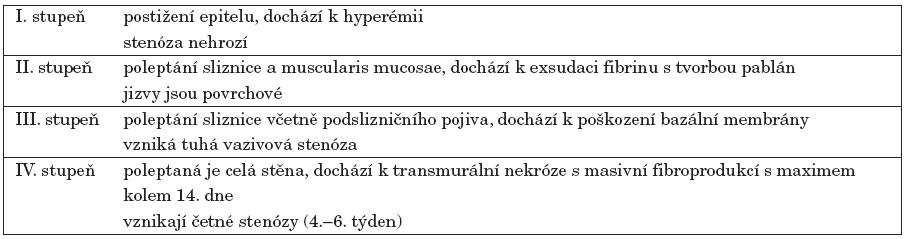 Stupeň poškození sliznice jícnu a možné následky – Klotzova klasifikace [10].
