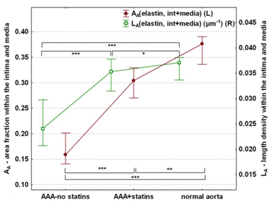 Srovnání a kvantifikace histologických parametrů – elastin Graph 2: Comparison and quantification of histological parameters – elastin