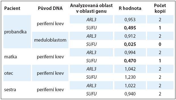 Výsledné hodnoty R zjištěné pomocí techniky qPCR, jež udávají počet kopií DNA v analyzované oblasti u jednotlivých členů rodiny.