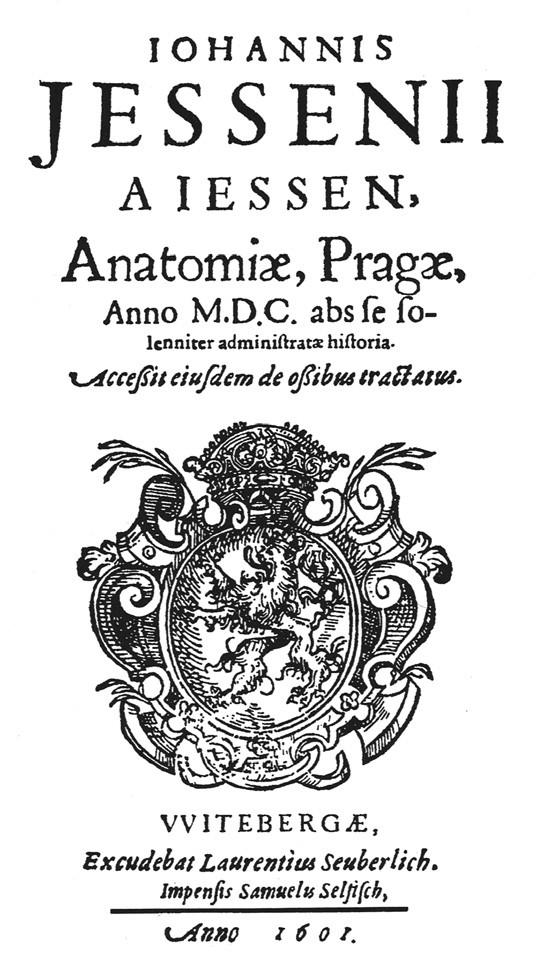 Titulní list originálu Jesseniovy knihy o jeho pražské pitvě