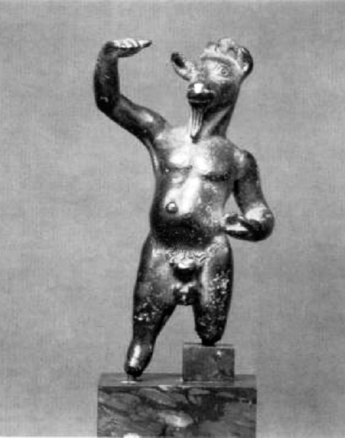 Bronzová soška boha Pana z Arkádie, datovaná do poloviny 5. století př. n. l.