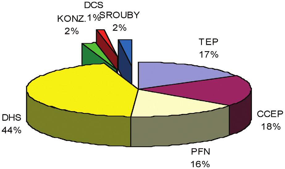 Metody ošetření zlomenin proximálního femuru použité v roce 2006 Graph 1: Treatment methods in proximal femoral fractures used in the year 2006