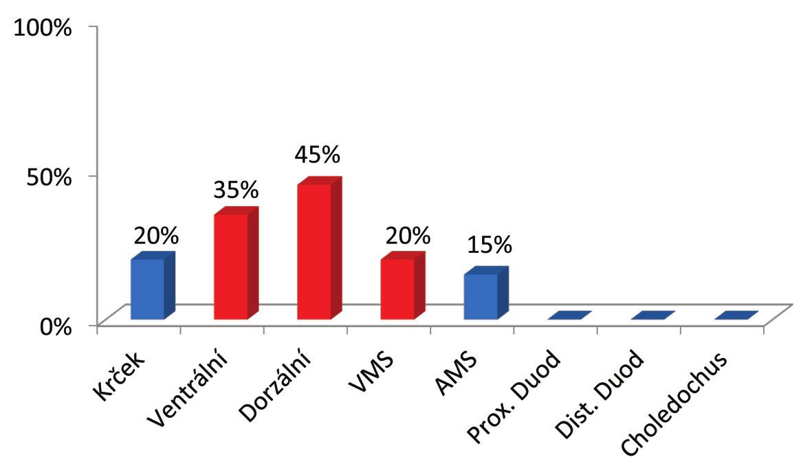 Četnost pozitivity jednotlivých resekčních linií ve skupině dvaceti resekátů karcinomu pankreatu vyšetřených Leedským protokolem Graph 1: Resection lines positivity rate in the group of 20 pancreatic cancer specimens examined by the Leeds protocol