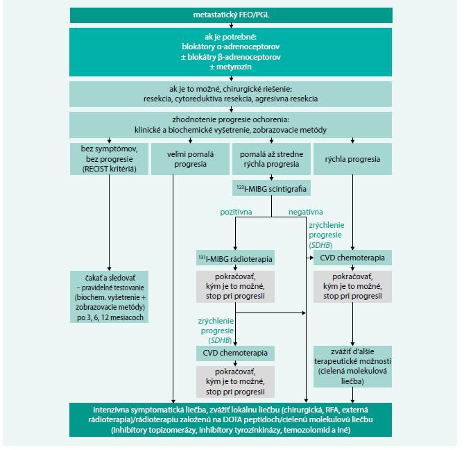 Schéma 2. Algoritmus manažmentu pacientov s metastatickým FEO/PGL.