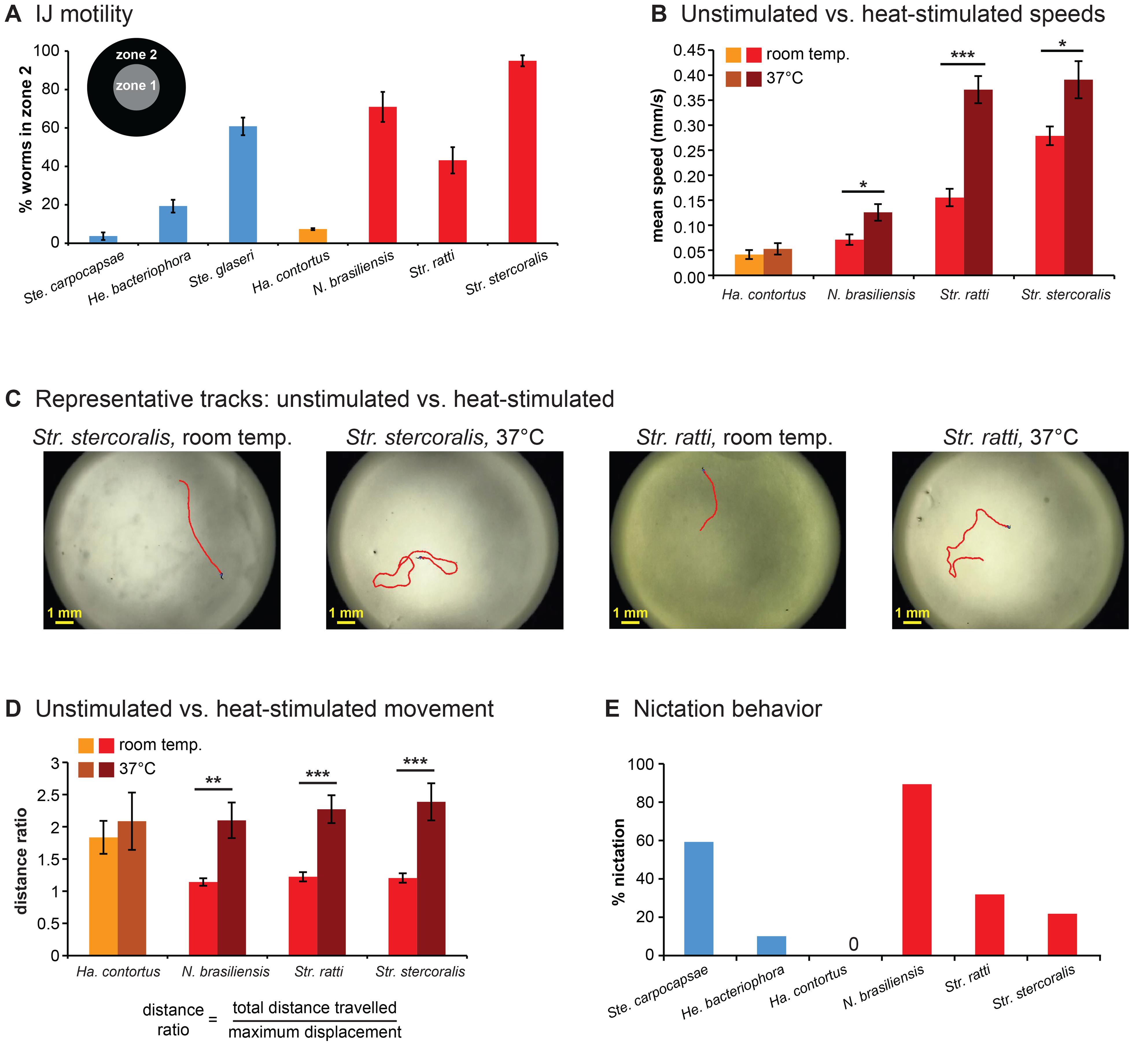 Foraging behaviors of skin-penetrating nematodes.