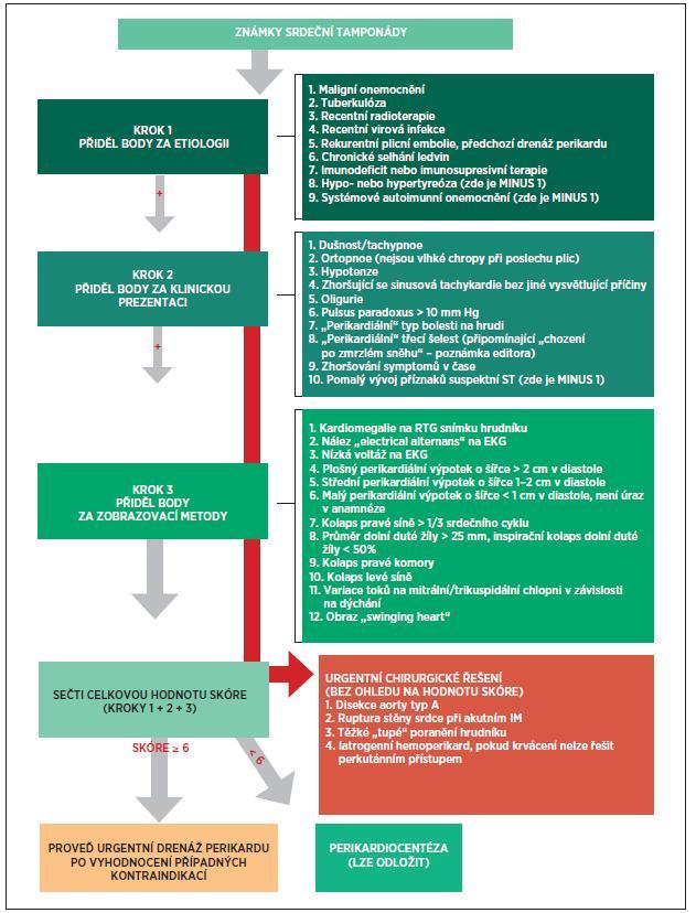 Schéma postupu u srdeční tamponády