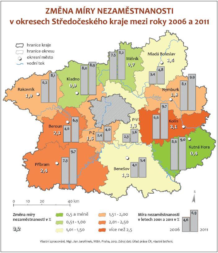 Kartodiagram vyznačující změny míry nezaměstnanosti v okresech Středočeského kraje.