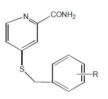 Deriváty benzylsufanylpyridin-2-karboxamidu