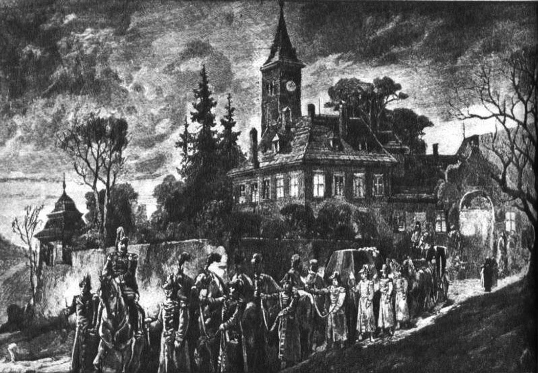 Odvoz Rudolfova těla z Mayerlingu. Kresba ze soudobého vídeňského listu.