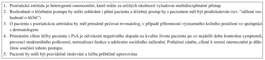 Obecné principy sledování a léčby PsA