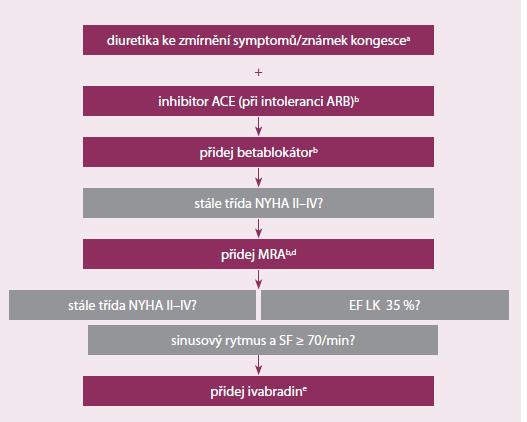 Schéma farmakologické léčby srdečního selhání (upraveno dle [16])