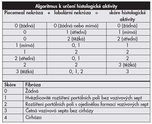 Klasifikační schéma chronických hepatitid <b>METAVIR systém.</b>
