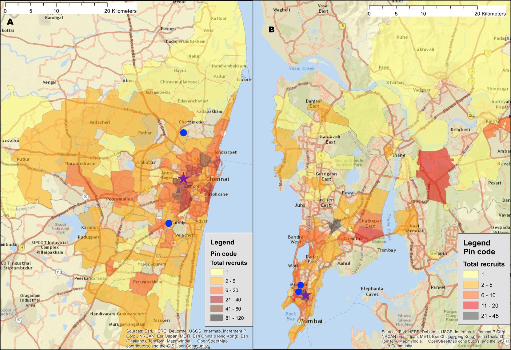 Recruitment of participants across a city using respondent-driven sampling.