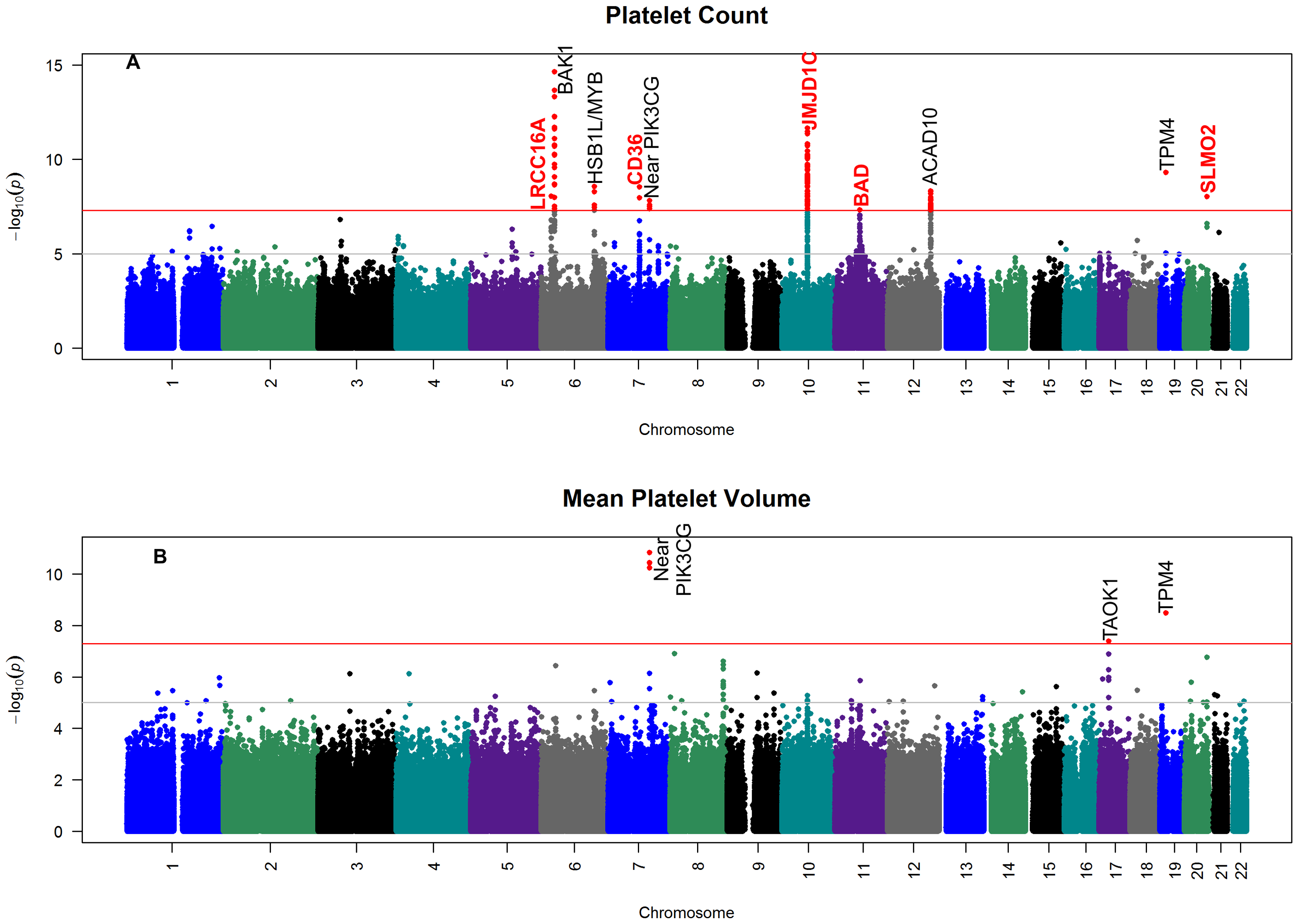 Manhattan plot of the genome-wide association results for meta-analysis.