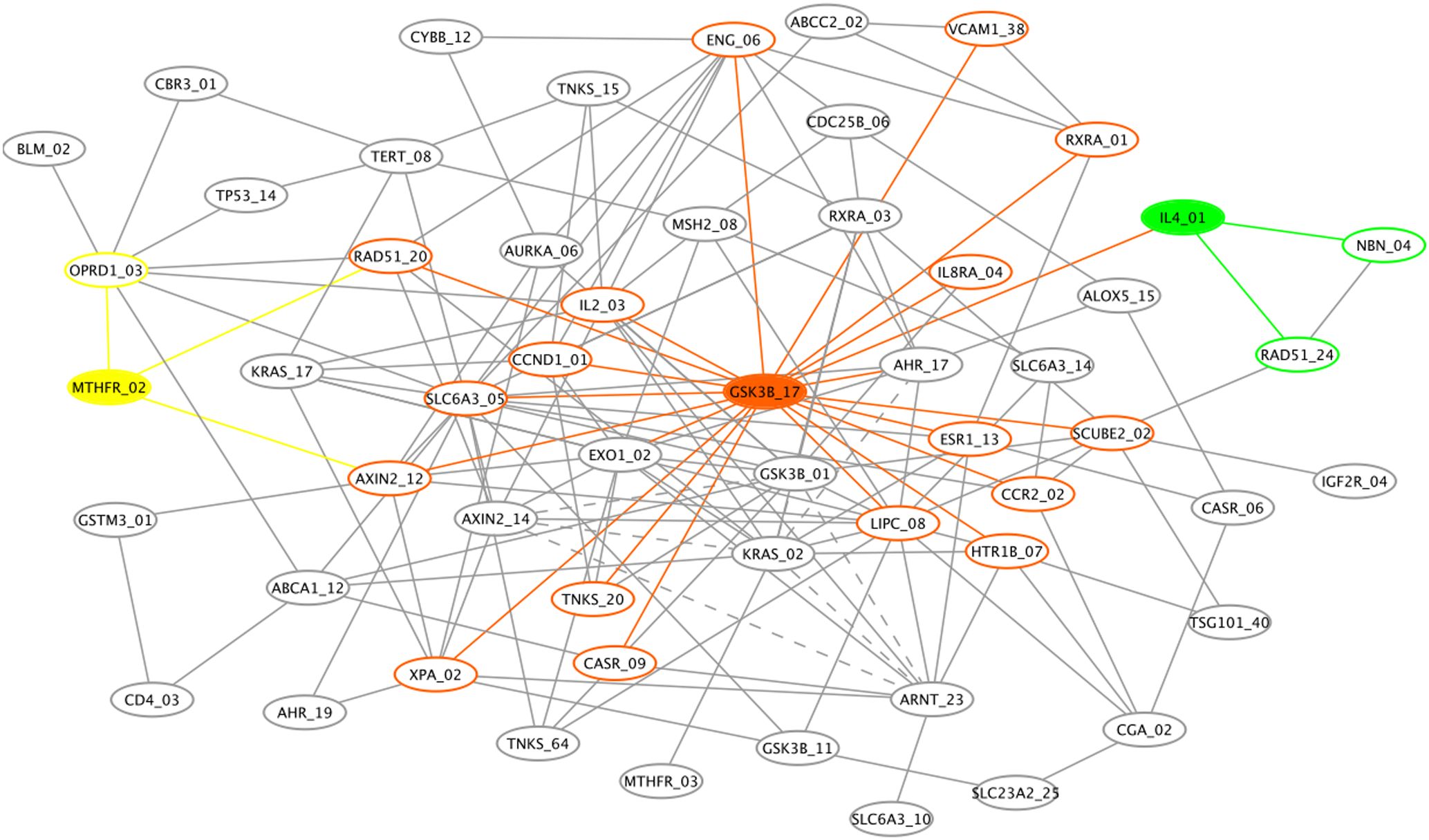 Genetic association interaction network (GAIN) for the top 70 SNPs selected by Evaporative Cooling (EC) as most relevant to smallpox vaccine-associated adverse events.
