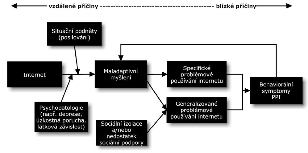 Kognitivně-behaviorální model problémového používání internetu (Davis, 2001).