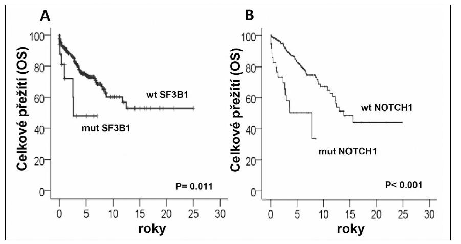 Vliv mutací v genech SF3B1 a NOTCH1 na celkové přežití pacientů s CLL (dle Rossi et al. 2011<sup>16</sup>, Rossi et al. 2011<sup>18</sup>) mut-mutovaný gen; wl - wild - type gen.  *Přejato se souhlasem vydavatele.