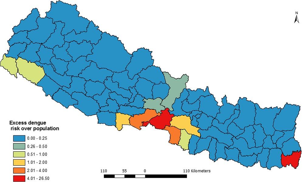 Excess hazard map of dengue fever in Nepal (2010–2014)