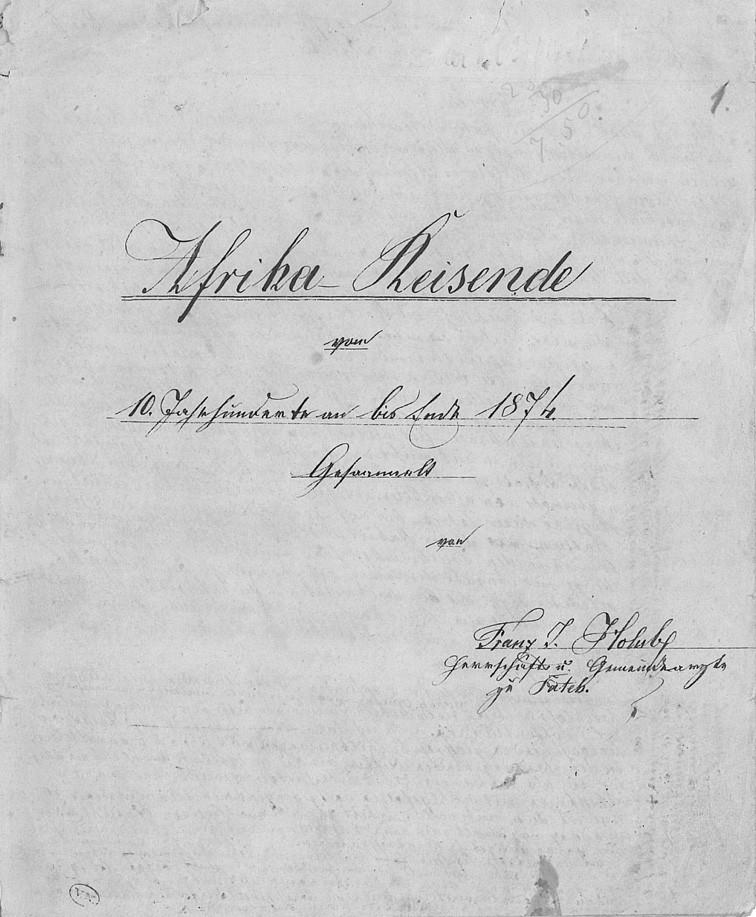 """Titulní strana spisu """"Afrika-Reisende"""", ve kterém František Holub zpracoval přehled afrických cestovatelů od 10. století po rok 1874"""