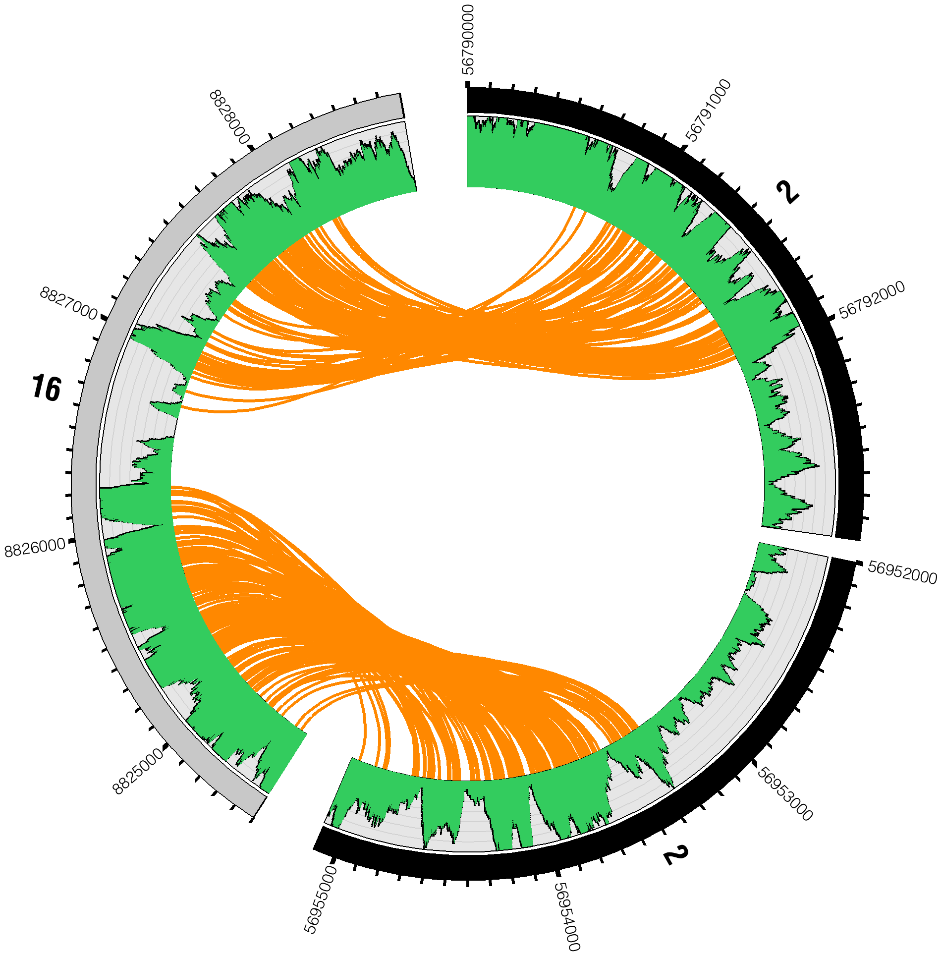Reads spanning interchromosomal translocation breakpoints.
