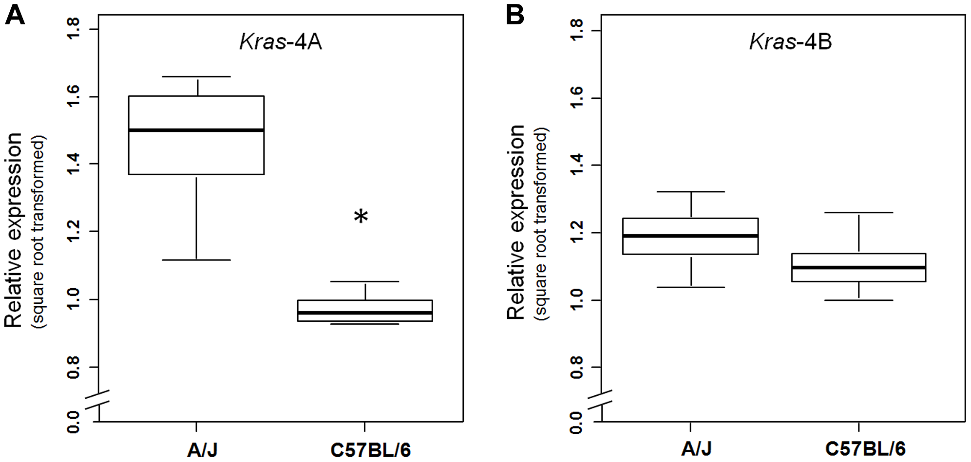 <i>Kras</i>-4A is expressed at higher levels in susceptible (A/J) than resistant (C57BL/6) strains.