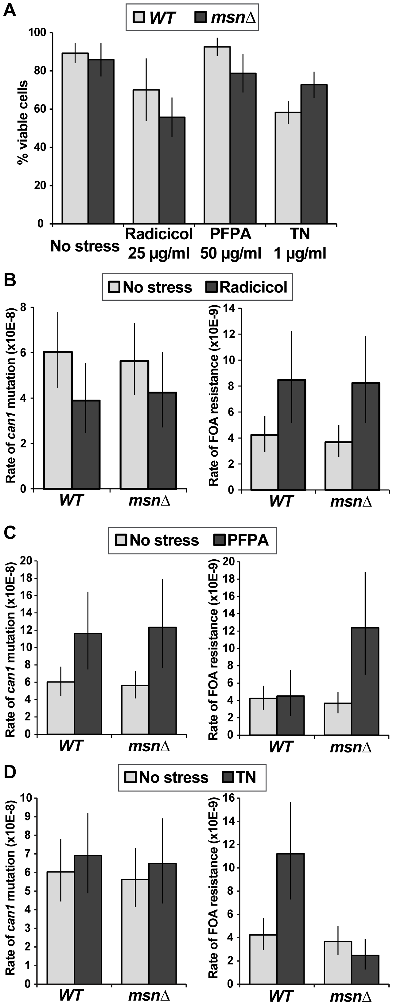 Different types of proteotoxic stress have different consequences on promoting formation canavanine-resistant versus FOA-resistant mutants and differentially involve Msn2-Msn4.