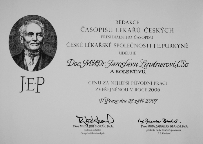 Diplom za nejlepší původní práci Časopisu lékařů českých v roce 2006