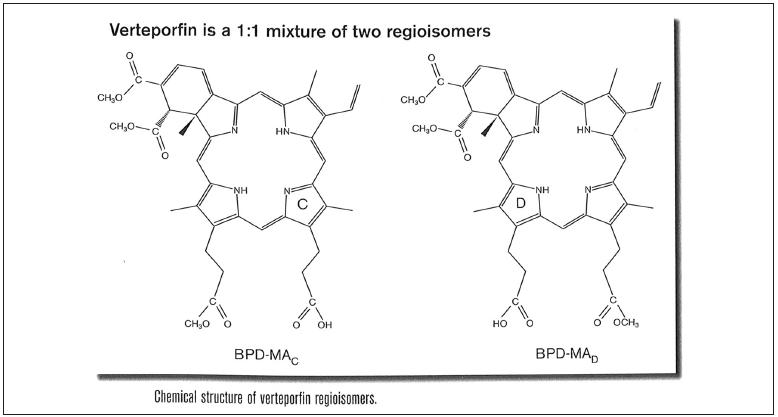 Chemická struktura verteporfinu – směs dvou regioisomerů v poměru 1:1