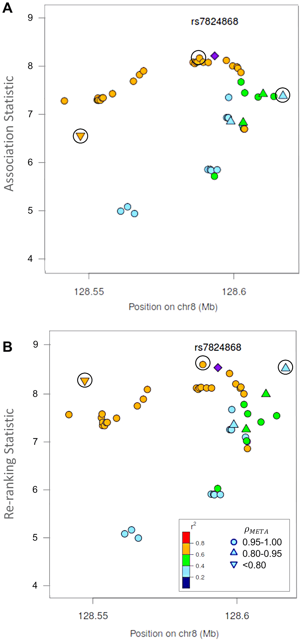 Naïve test statistics and re-ranking statistics for regions surrounding rs78246868 in the 8q24.21 region for association with prostate cancer risk.