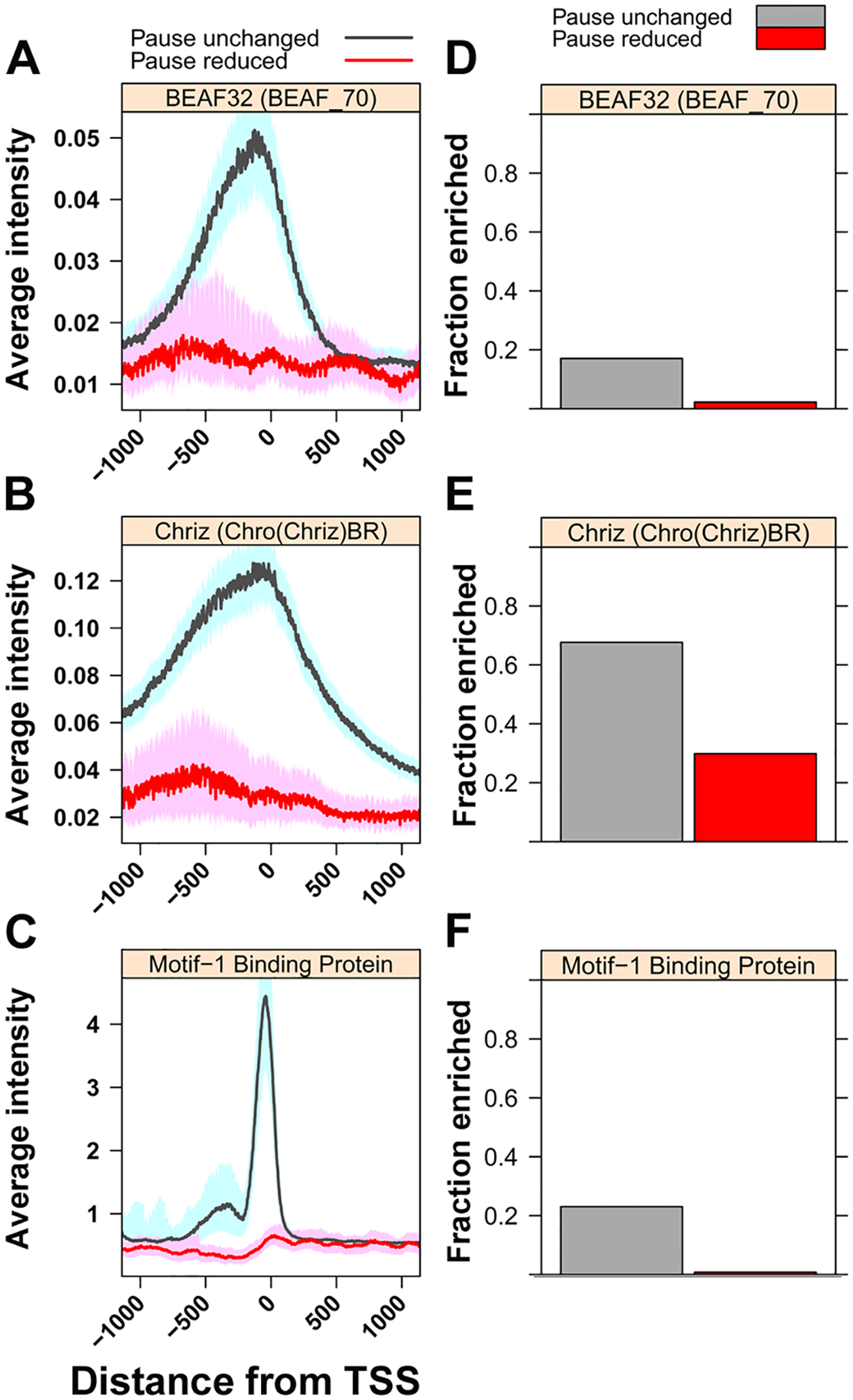 Levels of insulator-associated factors and Motif-1-binding protein are highest on unaffected genes.