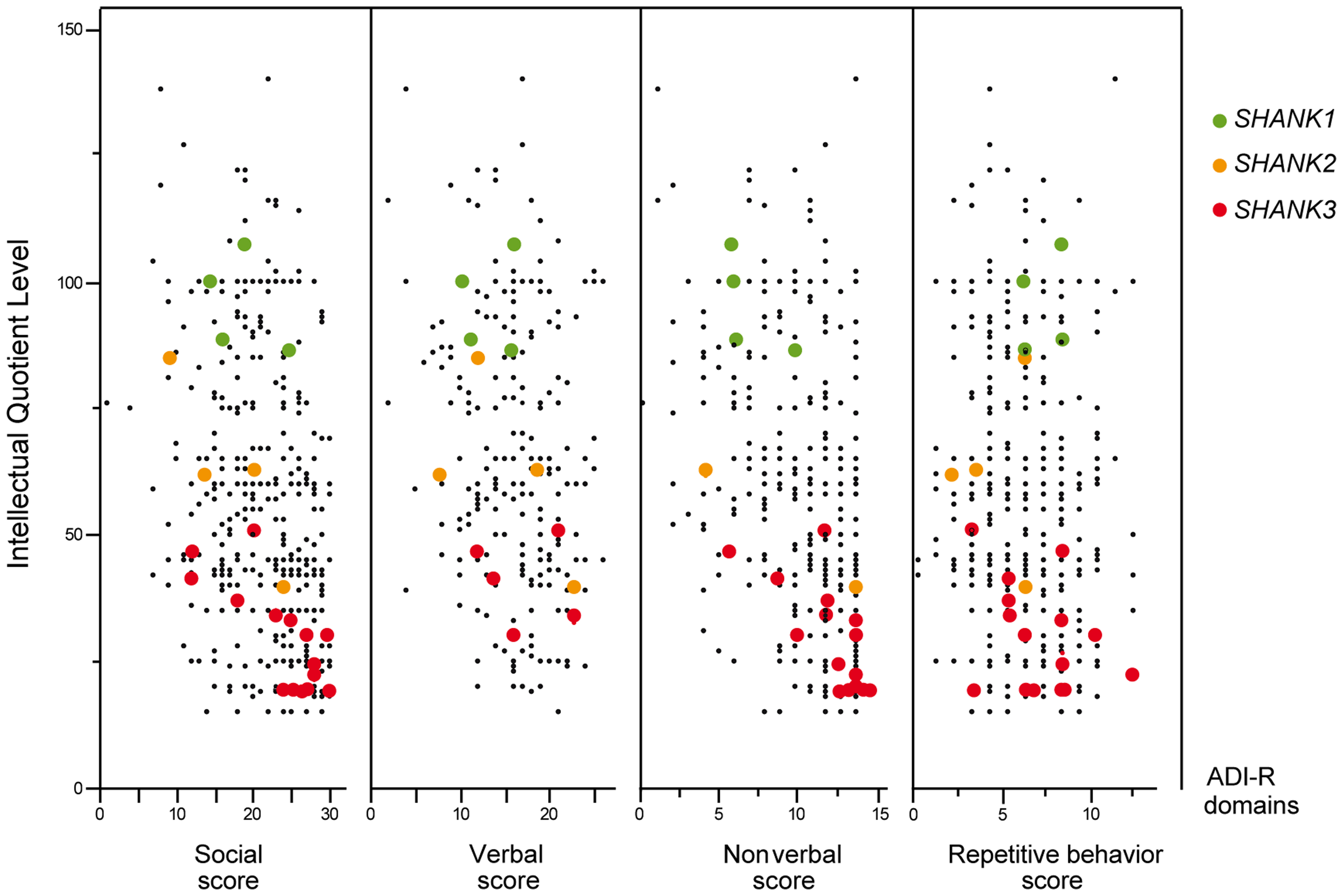 Scatter plots of the intellectual quotient and the Autism Diagnostic Interview-Revised (ADI-R) scores of the patients with ASD screened for <i>SHANK1-3</i> mutations.