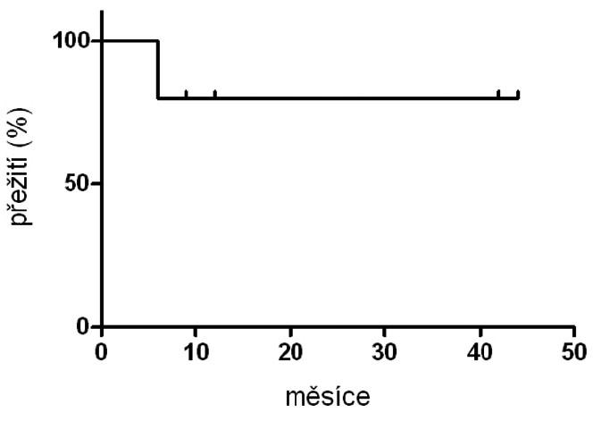 Kaplanova-Meierova křivka přežití pacientů s chronickou granulomatózní chorobou po transplantaci hematopoetických buněk v České republice (n = 5).
