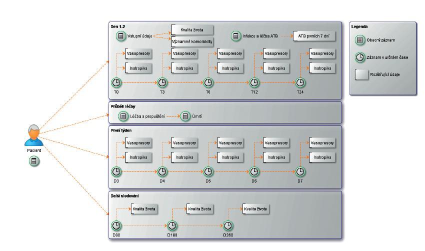 Struktura výzkumné databáze EPOSS ukazuje základní dělení záznamu do fází a formulářů