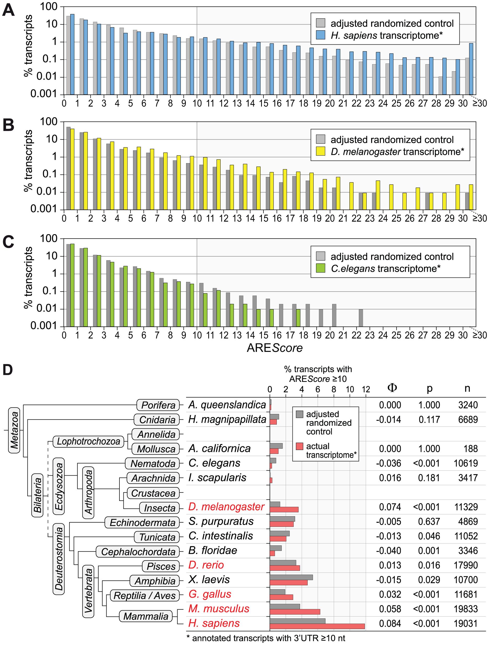 ARE<i>Score</i> distribution in comparison to randomized controls.