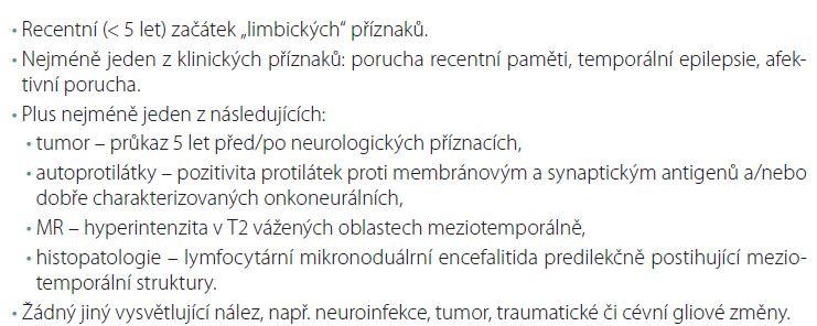 Diagnostická kritéria limbické encefalitidy (volně dle Biena).