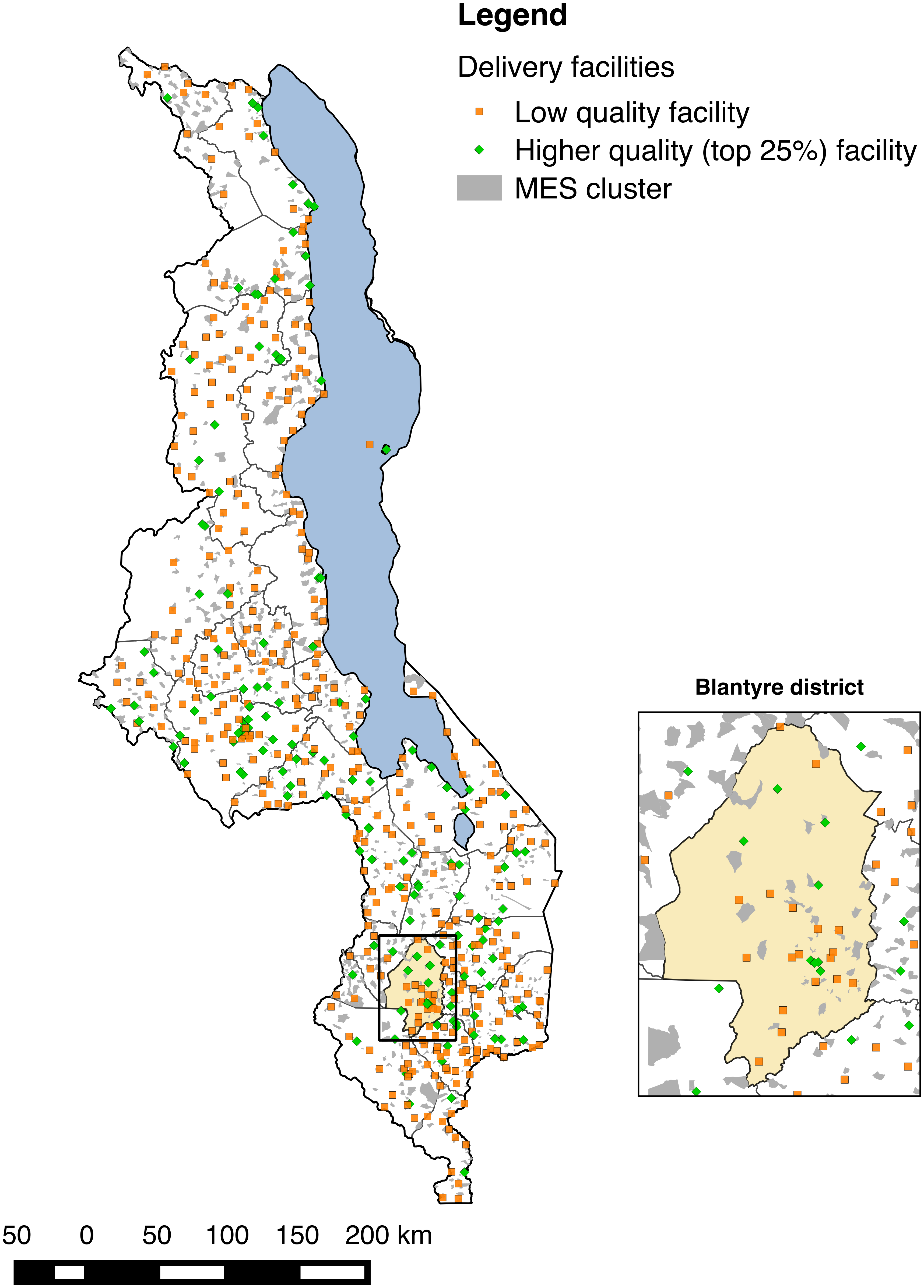 Distribution of health facilities in Malawi relative to MES enumeration areas and magnification of Blantyre district and city.