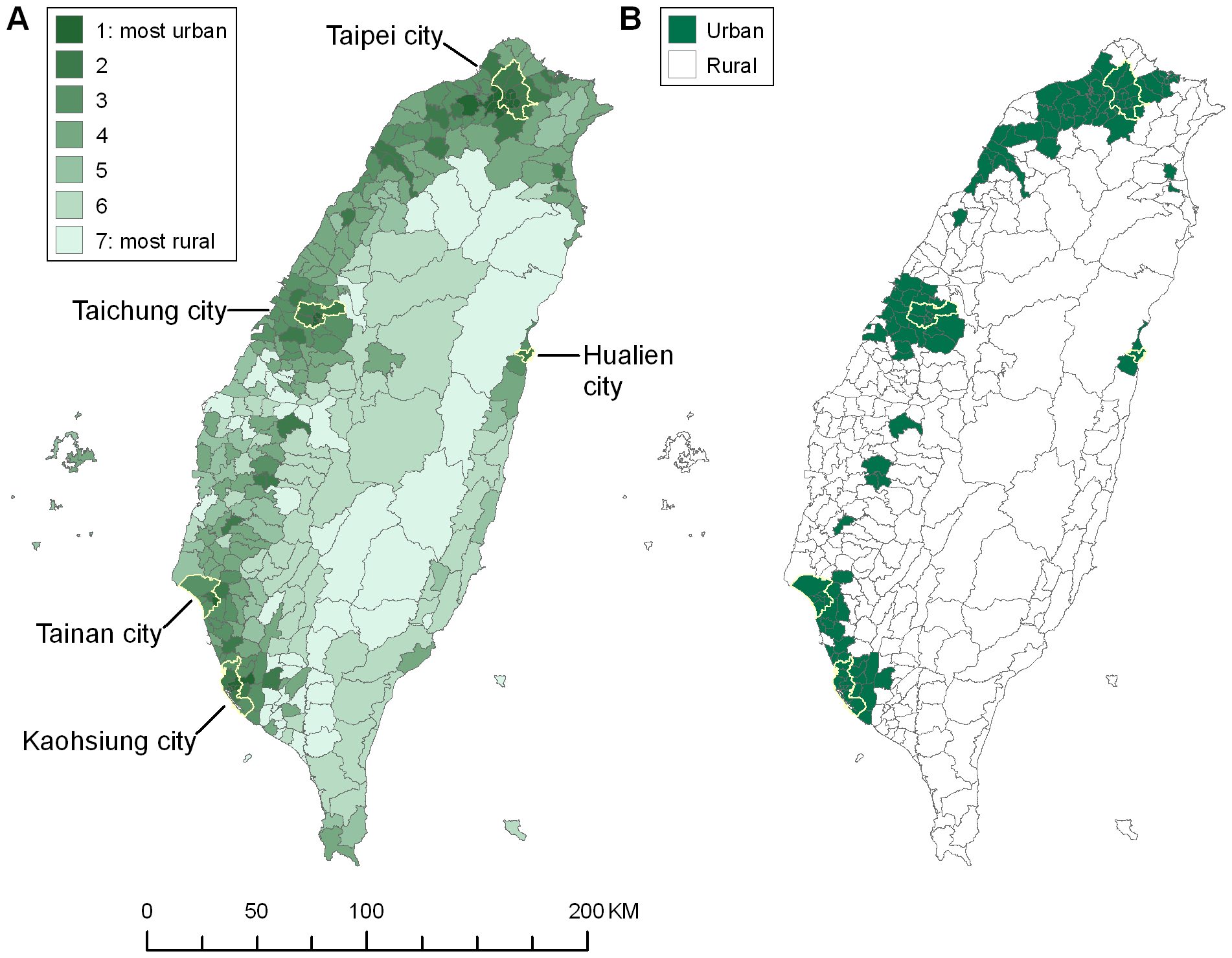 Maps of Taiwanese townships by urbanisation level, 2000.