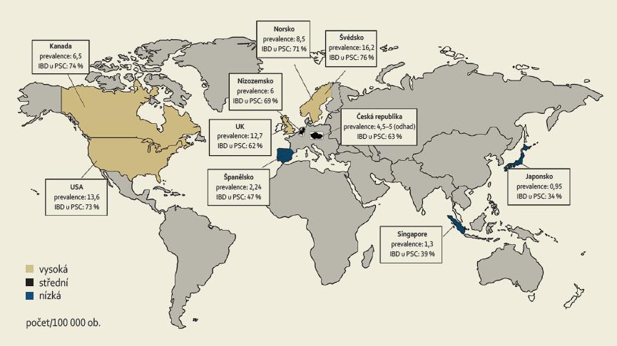 Prevalence PSC a PSC-IBD ve vybraných zemích světa. Fig. 1. Prevalence of PSC and PSC-IBD in selected countries of the world.
