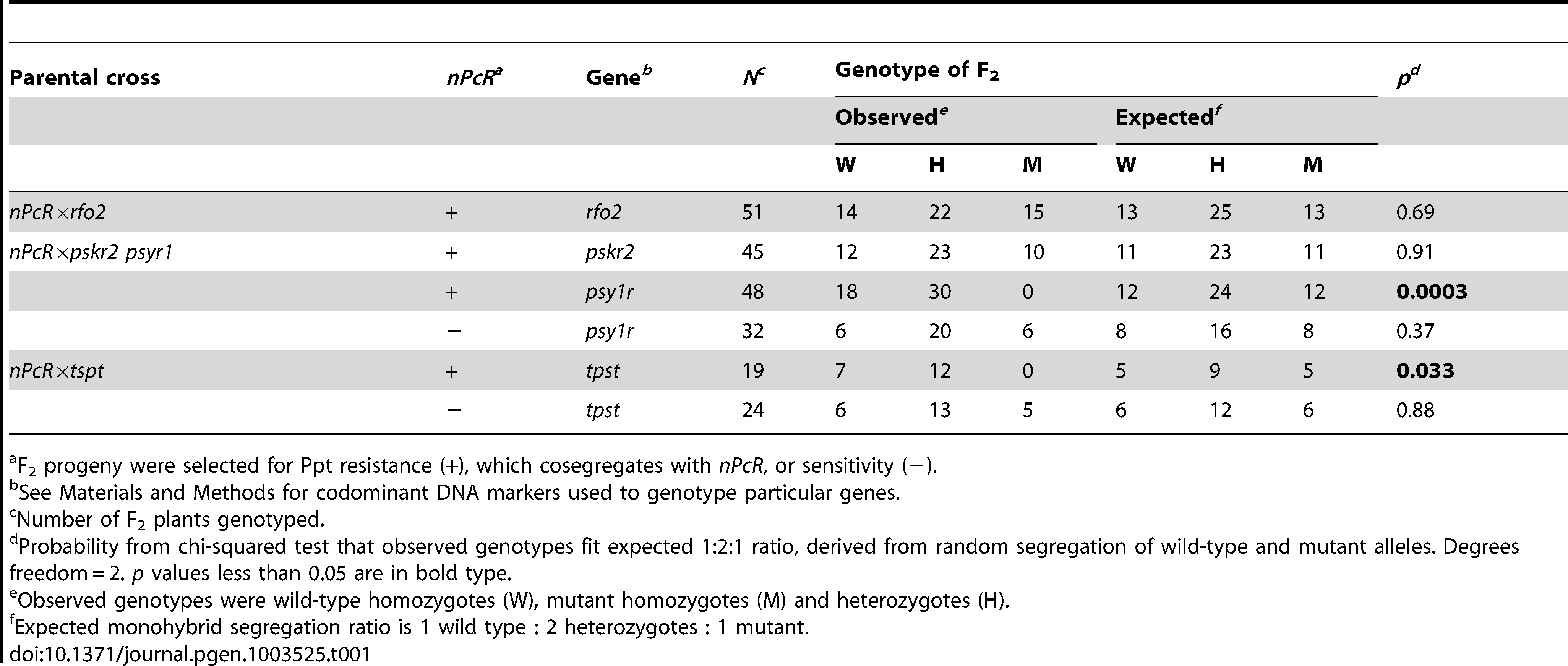 F<sub>2</sub> segregation of mutants in crosses with transgene <i>nPcR</i>.