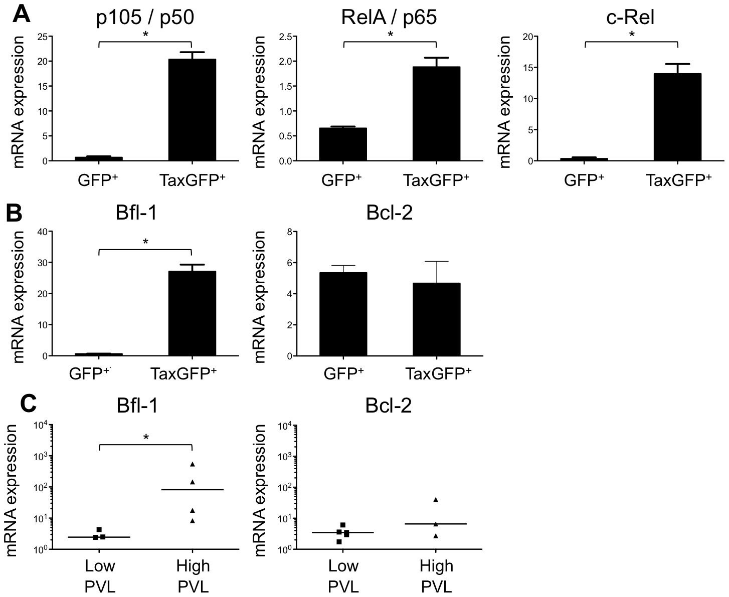 Enhanced transcription of the NF-κB and the antiapoptotic <i>Bfl1</i> genes by Tax.